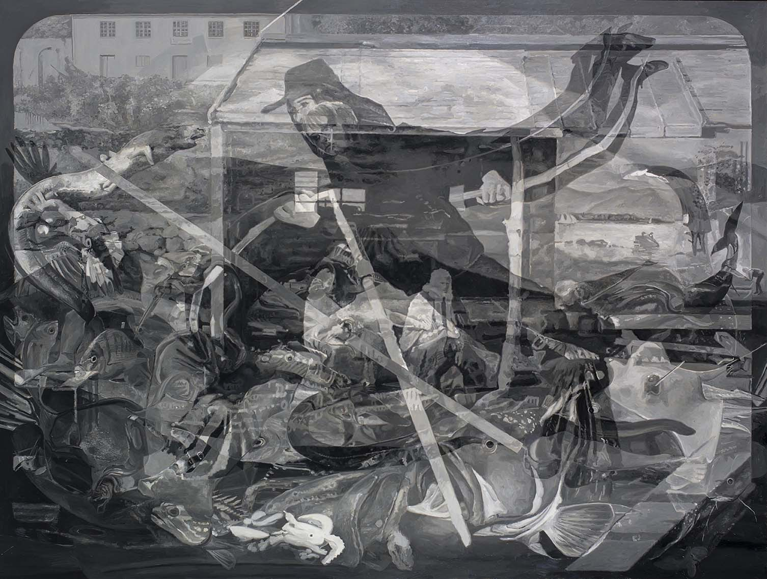 Copy of Antonio Departs Flores on the Whaling Tide, oil on board, 1120 x 160 cm, 2016. Collection Devonport Regional Art Gallery.