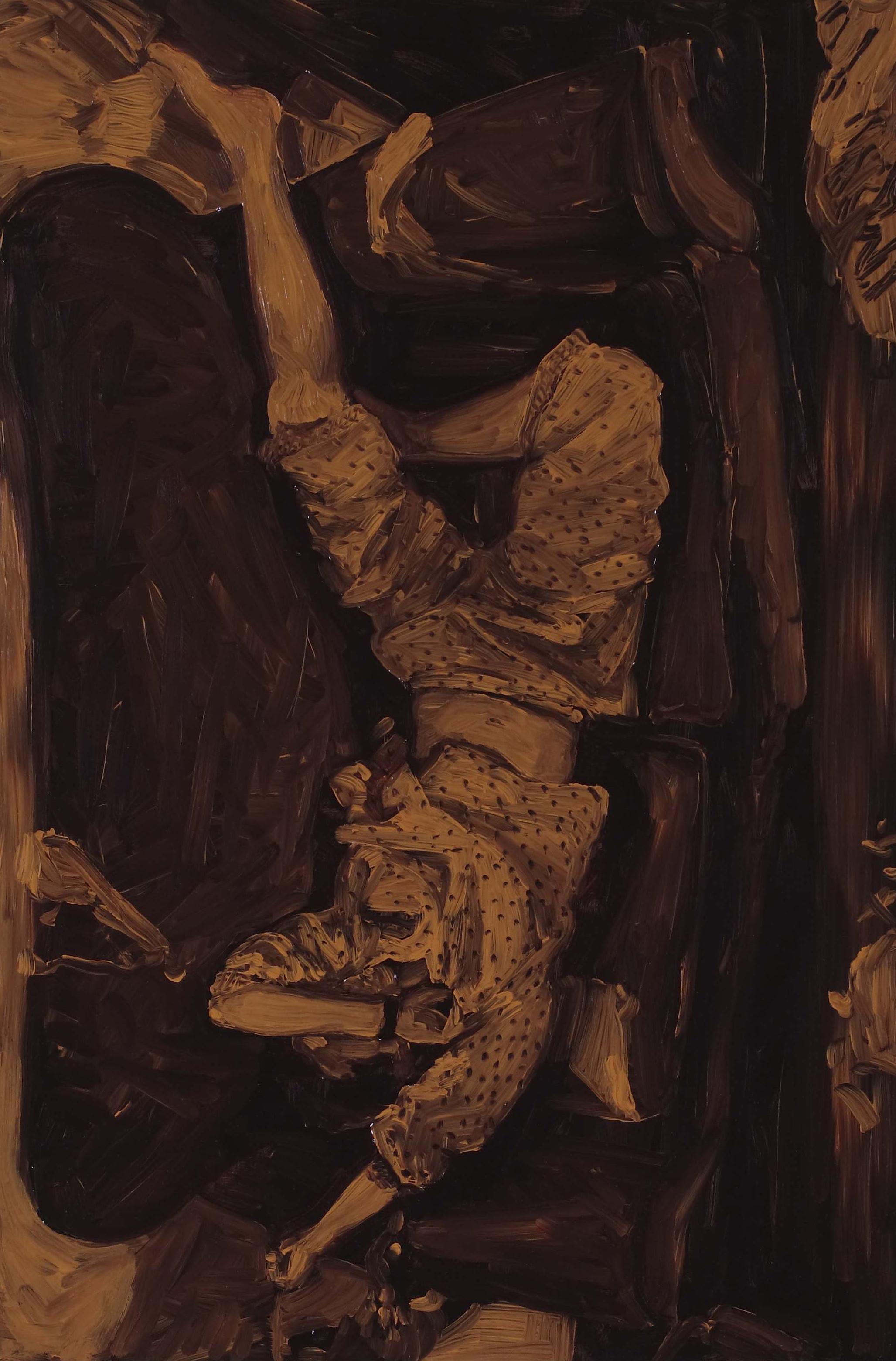 Reclining Pyjamas, oil on board 60 x 40 cm, 2008.