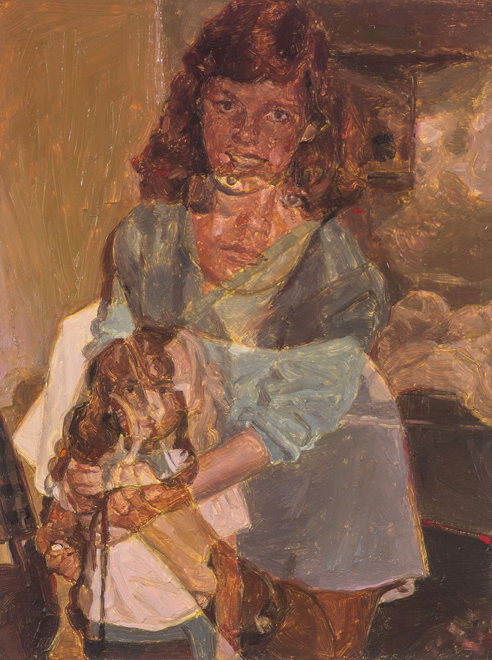 Copy of Cell Division (Susan and Julie Fragar) (detail), oil on paper, 67.5 x 50 cm (image 11.5 x 8.5 cm), 2016. (Sarah Cottier Gallery)