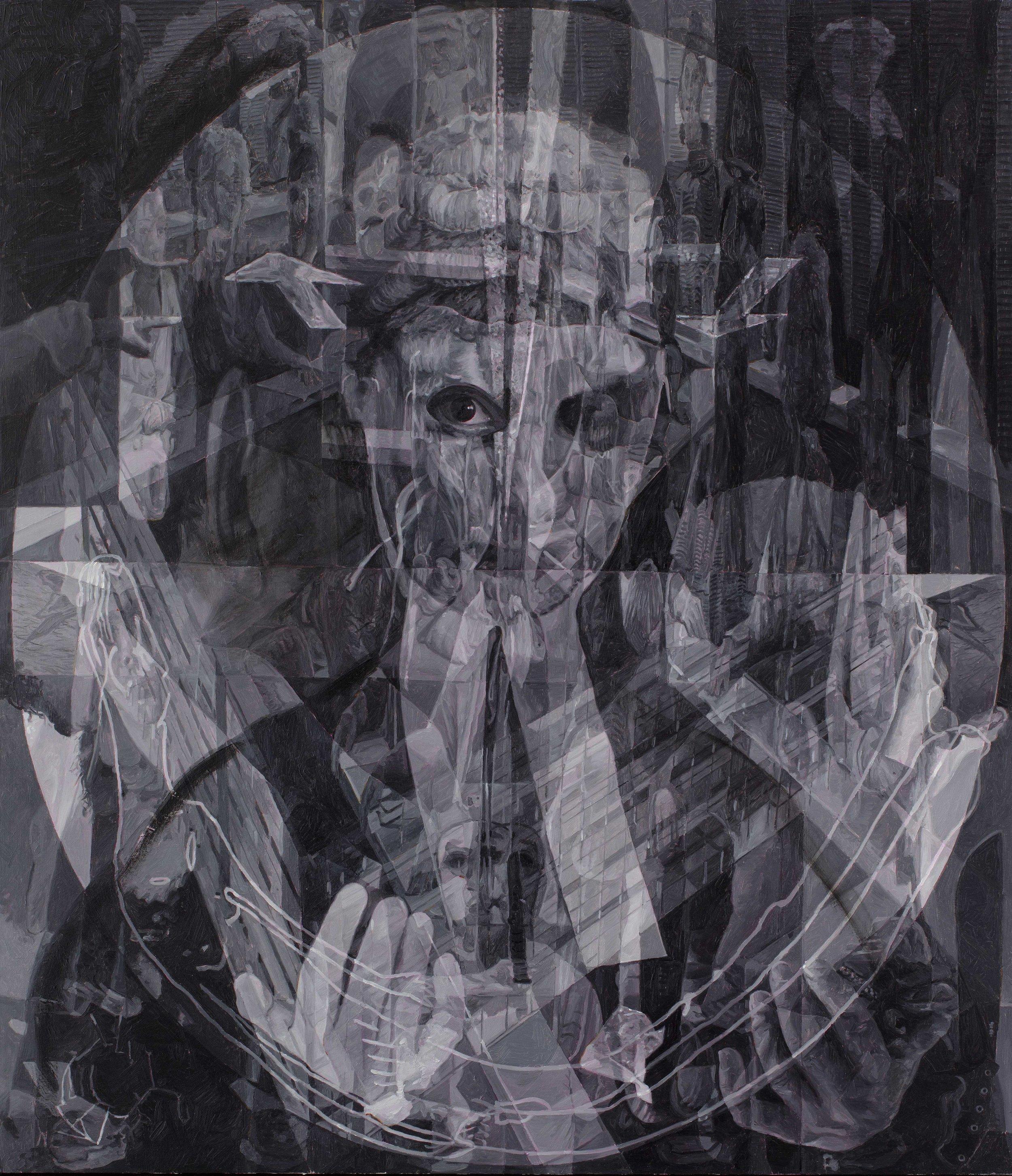 The Gatekeeper: Portrait of an Honourable Justice , oil on board, 122 x 106 cm, 2018.