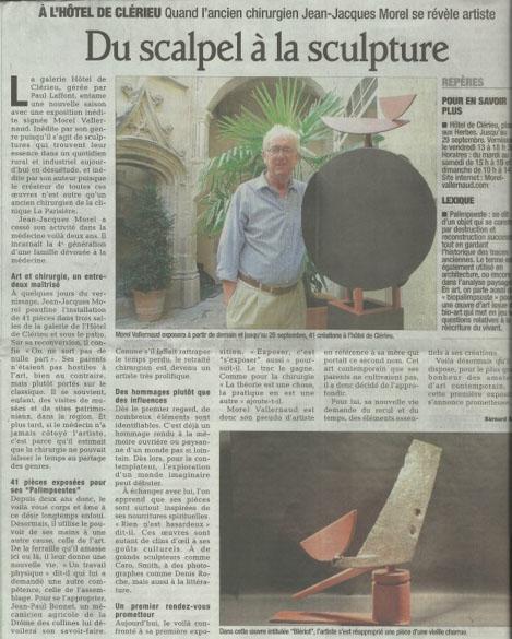 Du scalpel à la sculpture ,  Le Dauphiné Libéré , 13. Sept. 2013