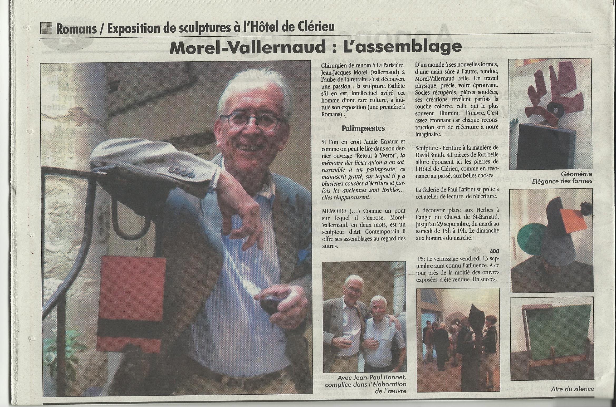 Jean-Jacques Morel s'expose à Romans ,  L'Impartial , 19. Sept. 2013