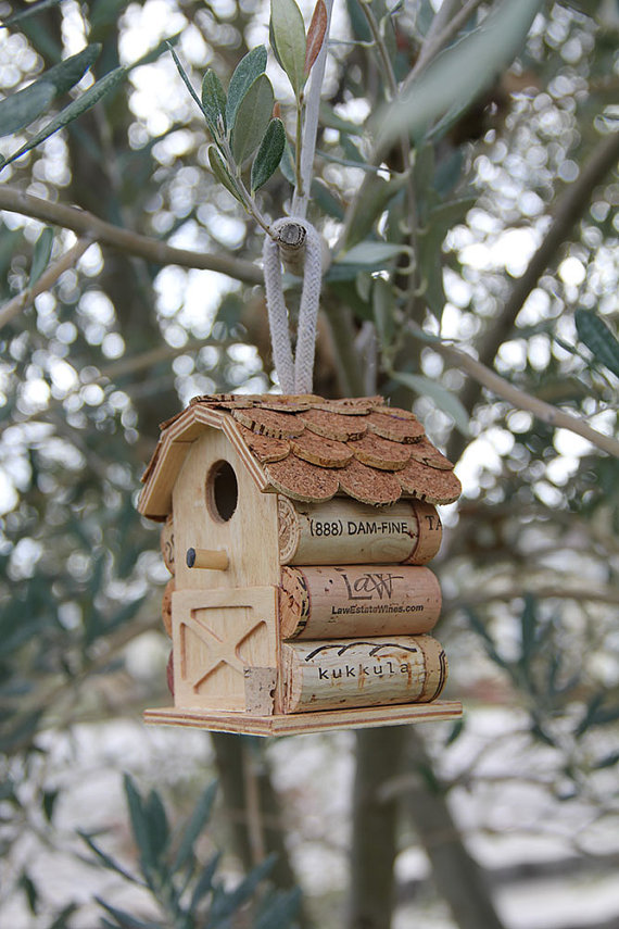 Little Barn Birdhouse, wood and wine corks by   CarefullyCorked