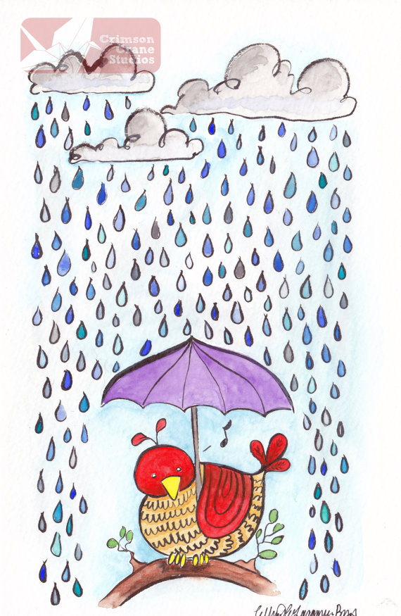 Singing in the Rain: Original Watercolor painting- 5.5x8.5 by    crimsoncranestudios