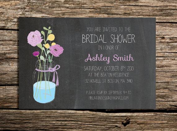 PRINTABLE Chalkboard Mason Jar Flower Wedding Shower Invitations by   WeekendCraft
