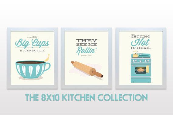 ORIGINAL Kitchen Print Set - 8x10 Posters wall cooking baking rap lyrics minimal eggshell aqua teal cute retro mid century modern 3 piece by   noodlehug