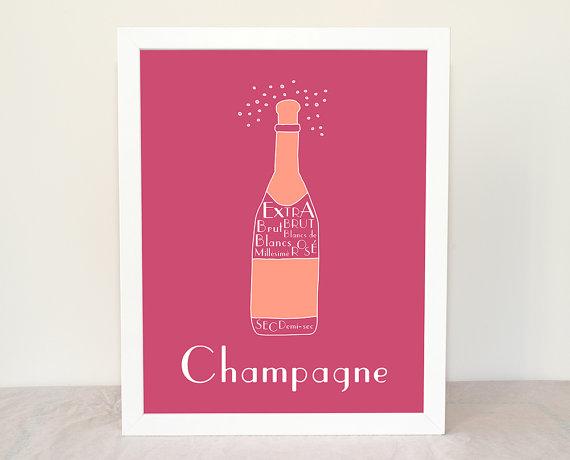 Kitchen Art Champagne Personalized Poster 8x10 by   GeraldineAdams