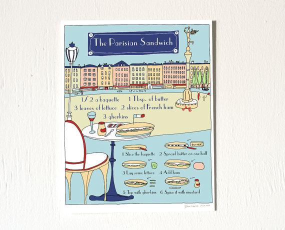 The Parisian Sandwich' Recipe Illustration by   GeraldineAdams