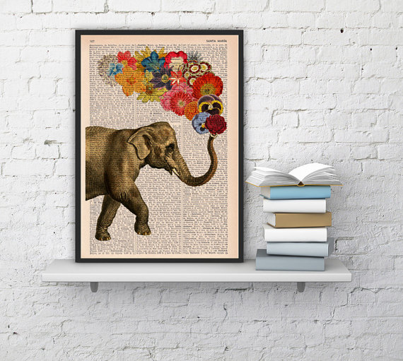 Elephant with Flowers - Love book print by   PRRINT