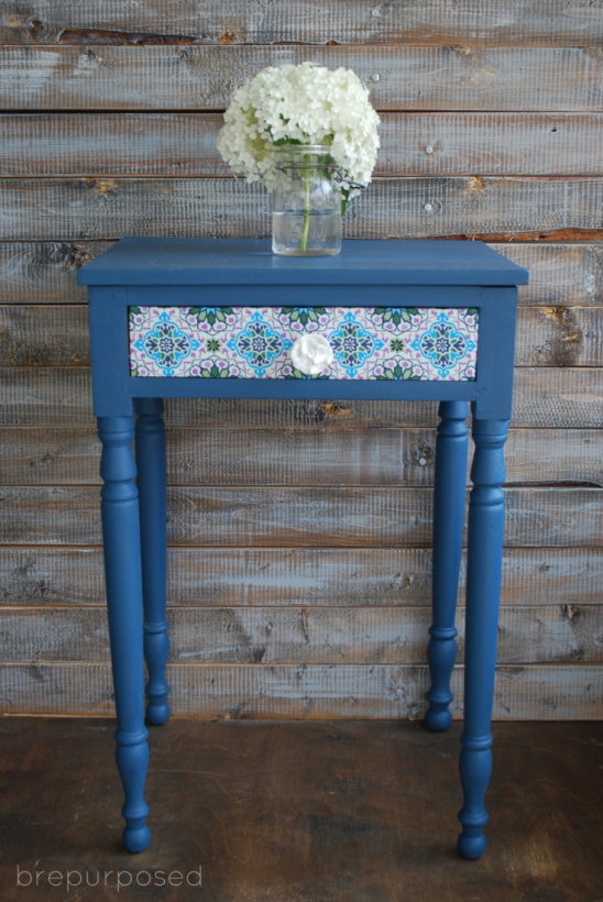 end table makeover with fabric