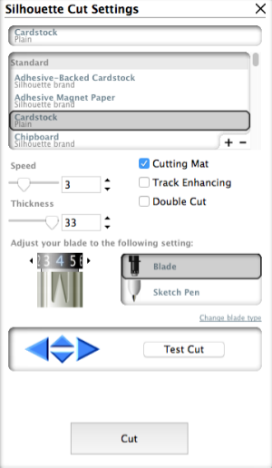Silhouette Cardstock cut settings