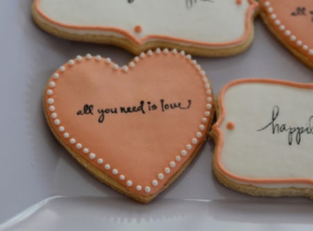 Stamped sugar cookies all you need is love