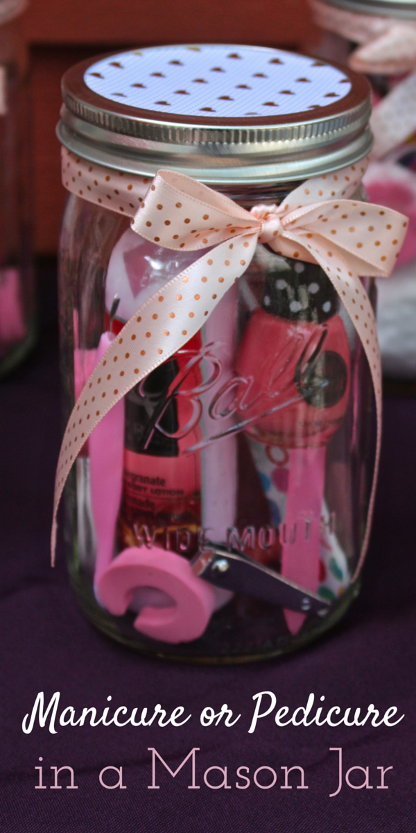 Manicure and pedicure mason jar favors