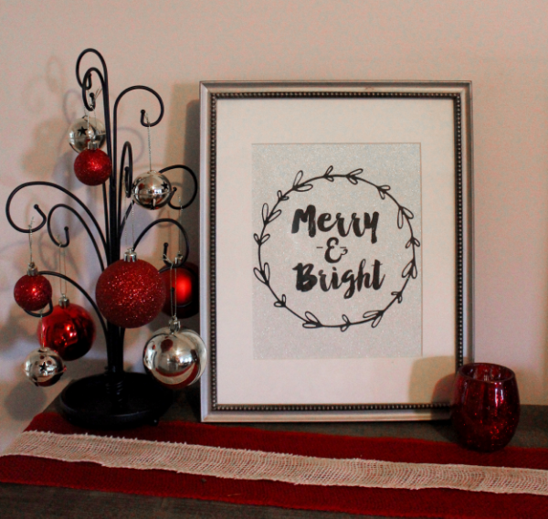 Merry and Bright Printable on glitter prints
