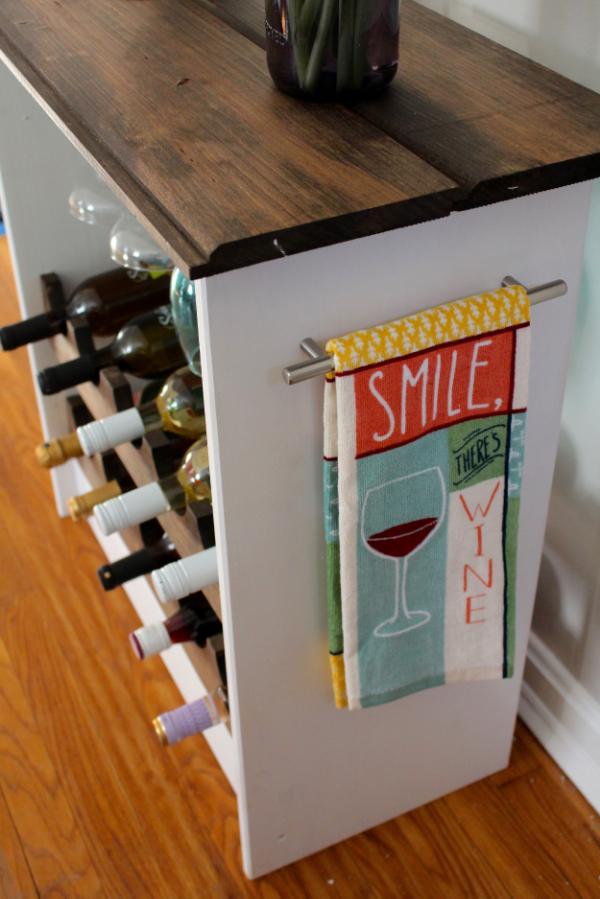 ikea hack wine rack with towel bar
