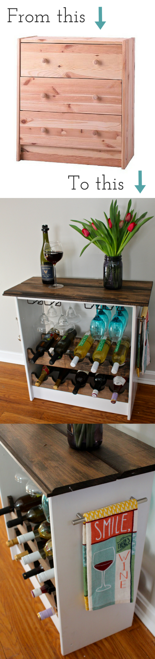 Ikea Hack turning a Rast dresser into a wine rack