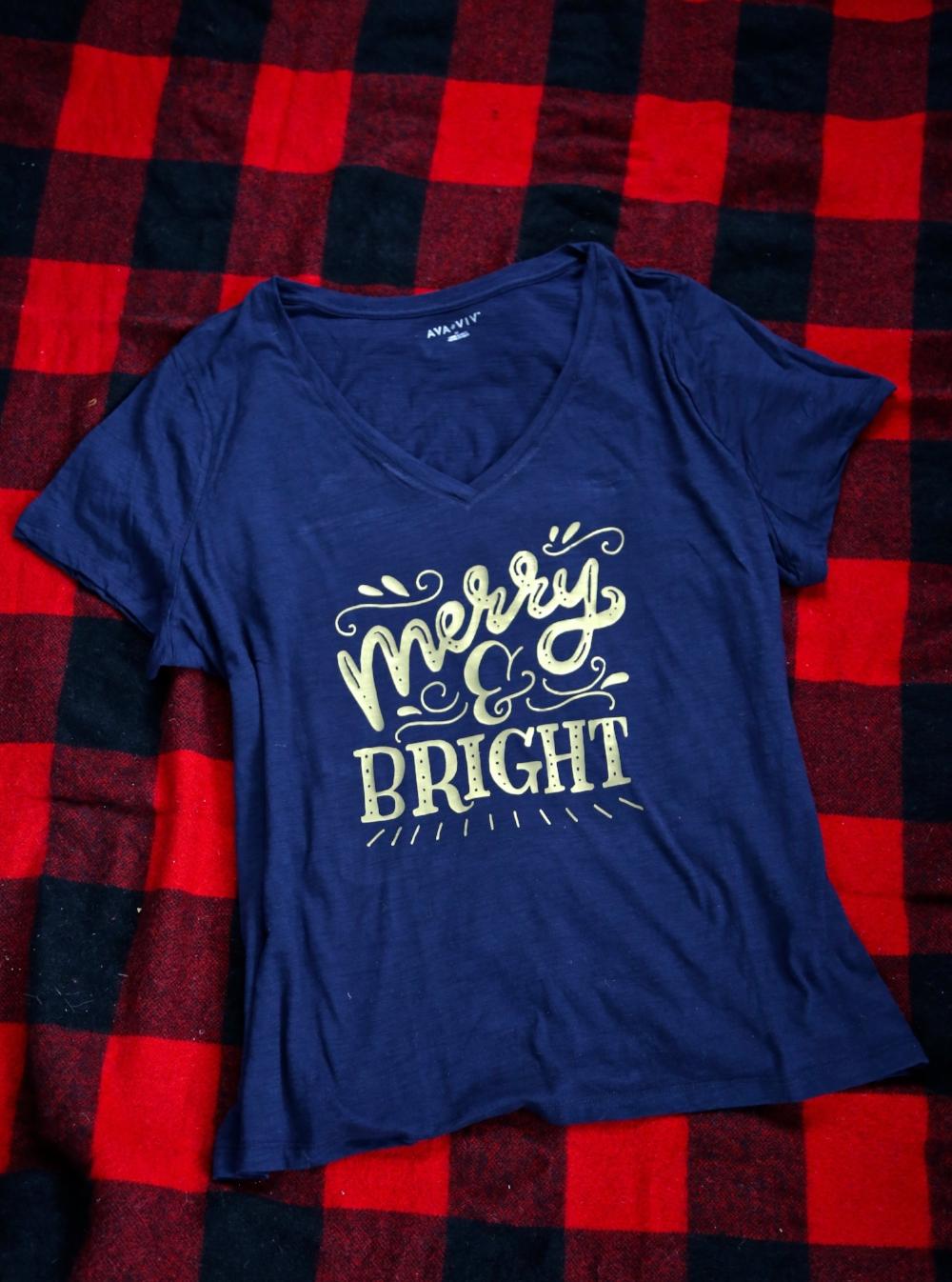 DIY Merry and Bright HTV Shirt