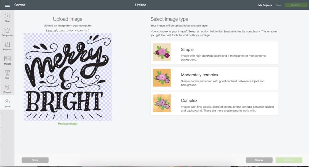 uploading PNG in Cricut Design