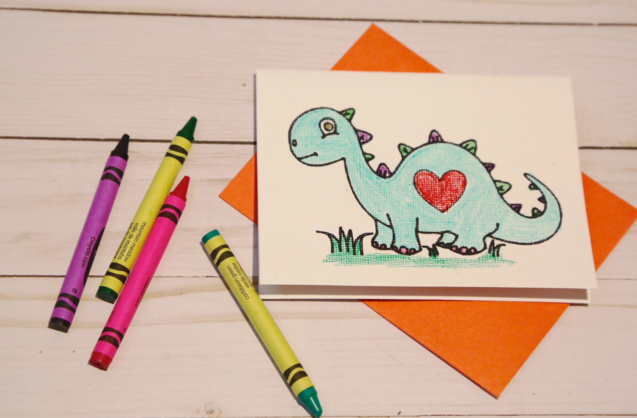 Dinosaur coloring card