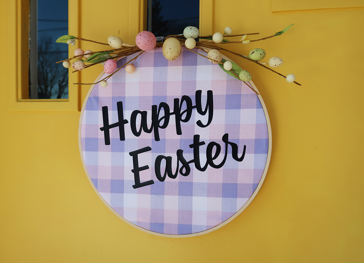 DIY Embroidery Hoop Easter Wreath11