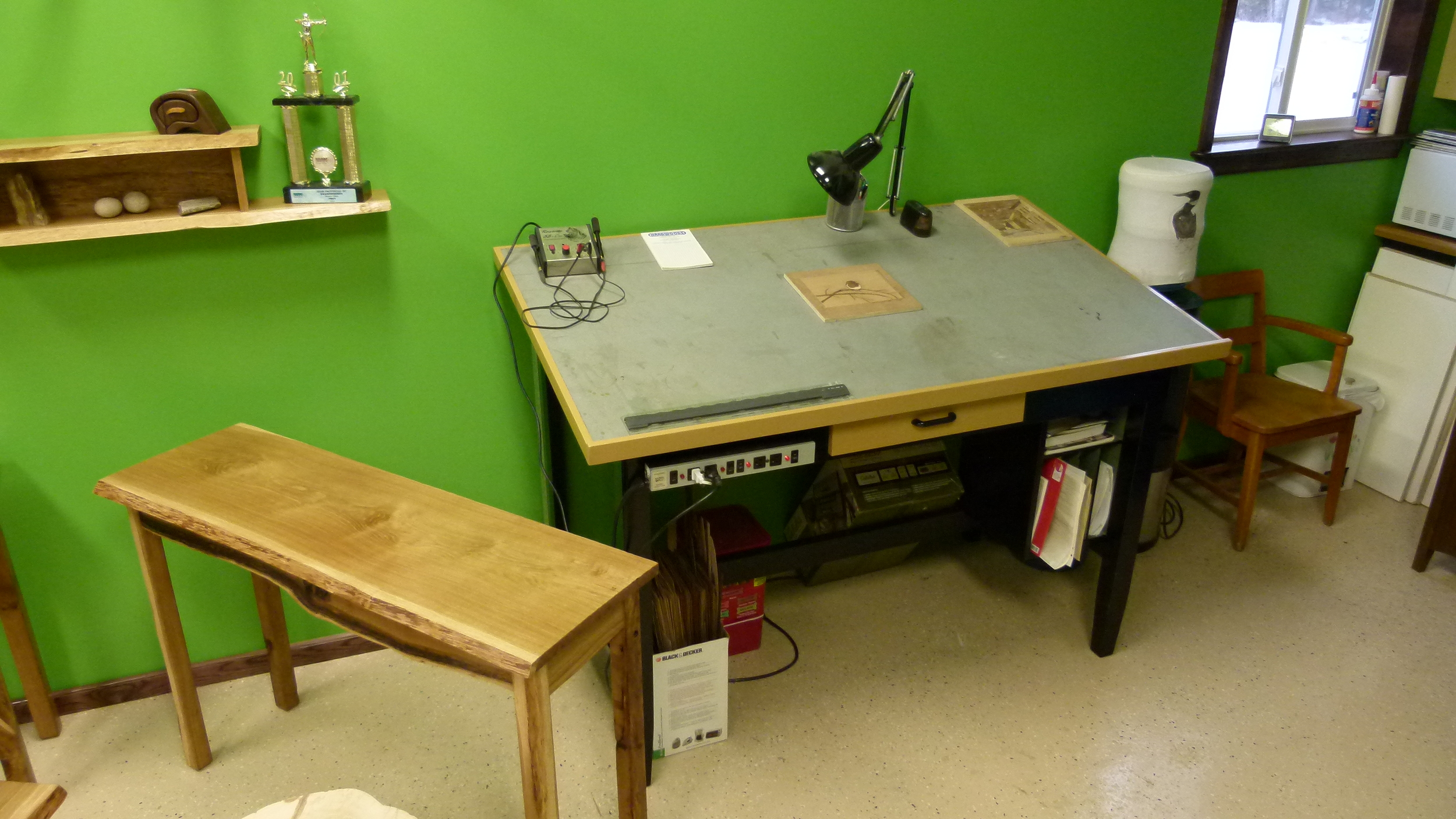 Pyrography and marquetry work area.