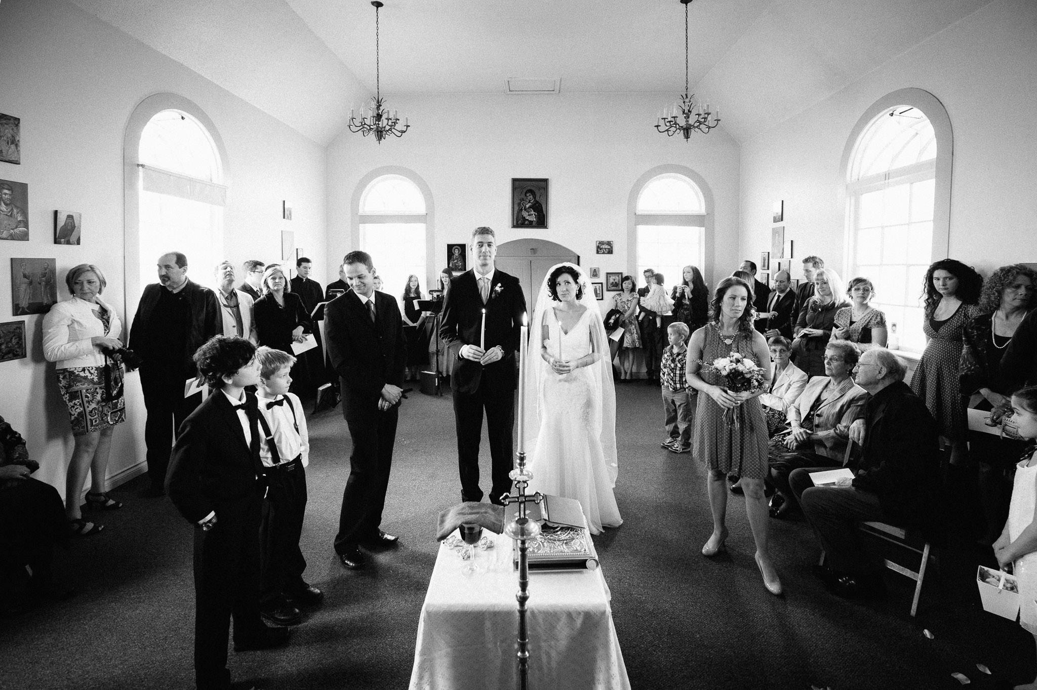 Wedding ceremony in a small church