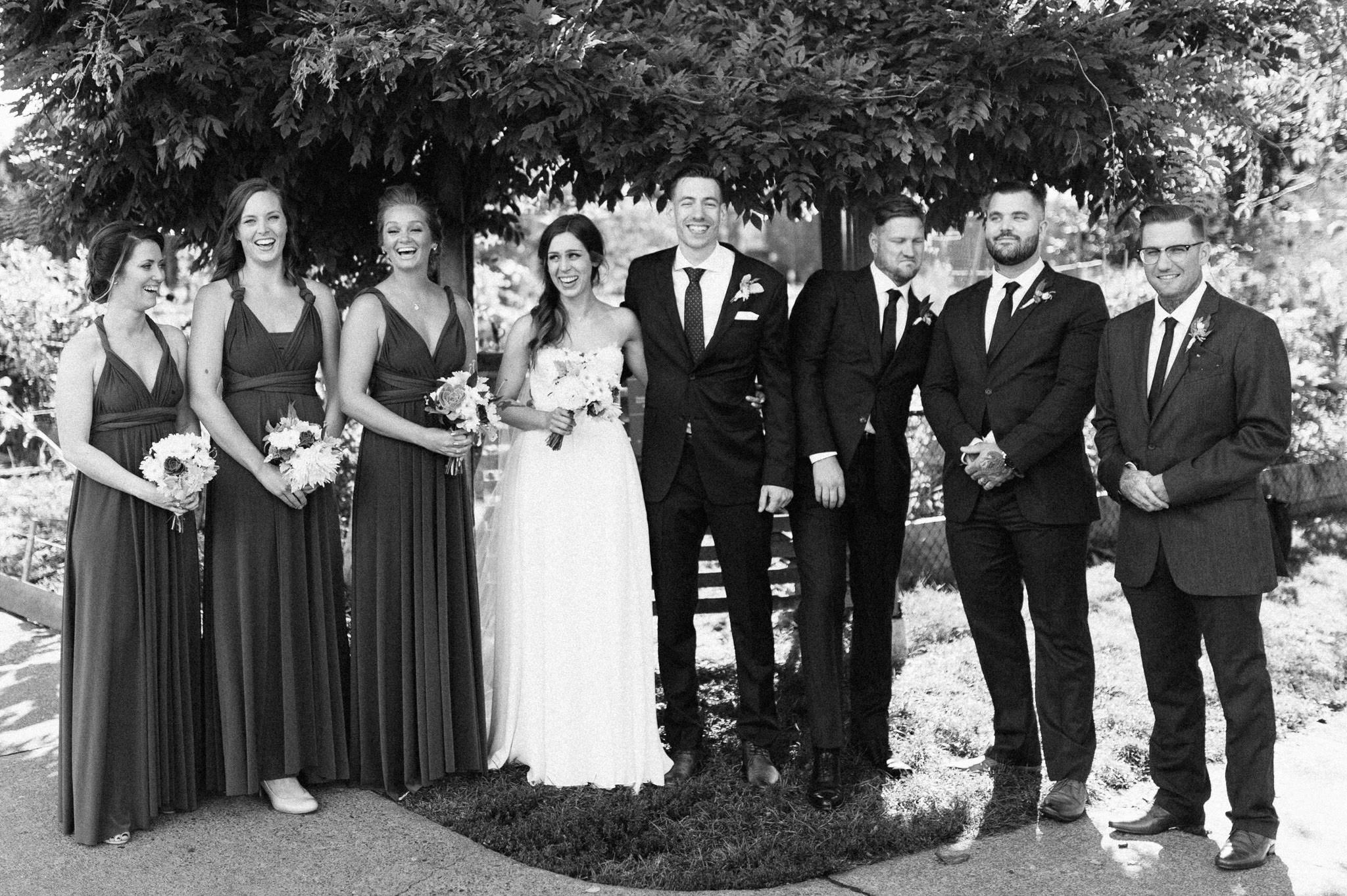Wedding group portrait in East Vancouver