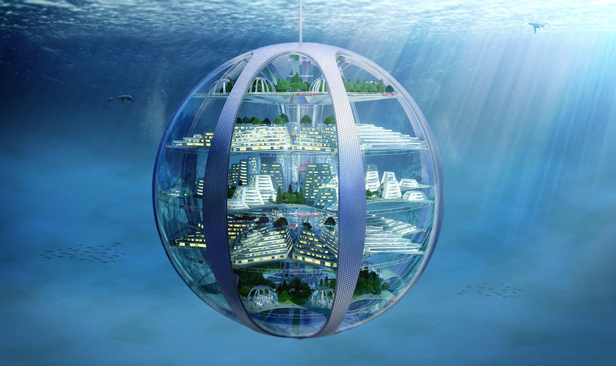 Underwater cities: are likely to become a reality – using the water itself to create breathable atmospheres and generating hydrogen fuel through the process
