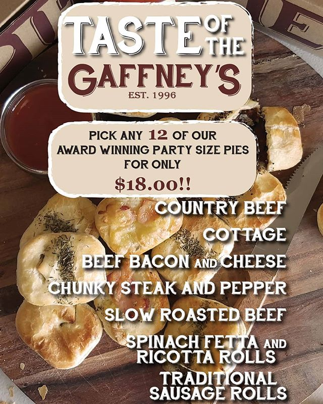 Putting our own spin on tomorrow's @tastesofthegoulburn. Come in to the Pie Kitchen in Seymour this weekend to grab an assortment of #australiasbestpies. Available Seymour only. 88 Station Street (main street)  #gaffneyspiekitchen #seymour #awardwinningpies #exploreseymour #tasteofthegoulburn