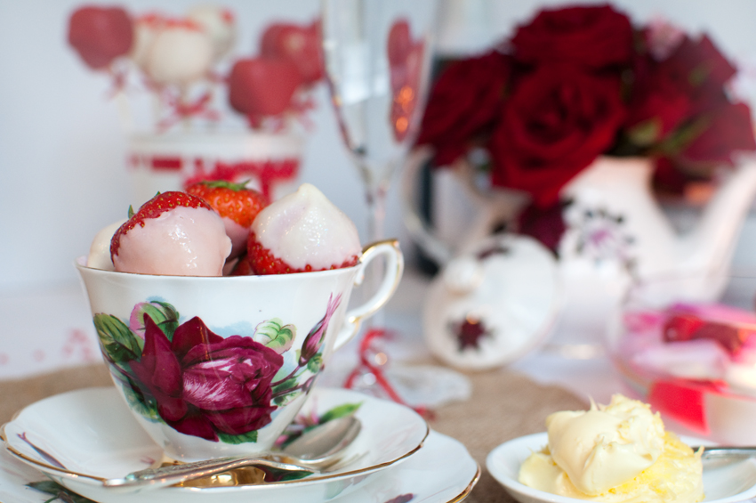 Chocolate dipped strawberries by The Chipping Norton Tea Set