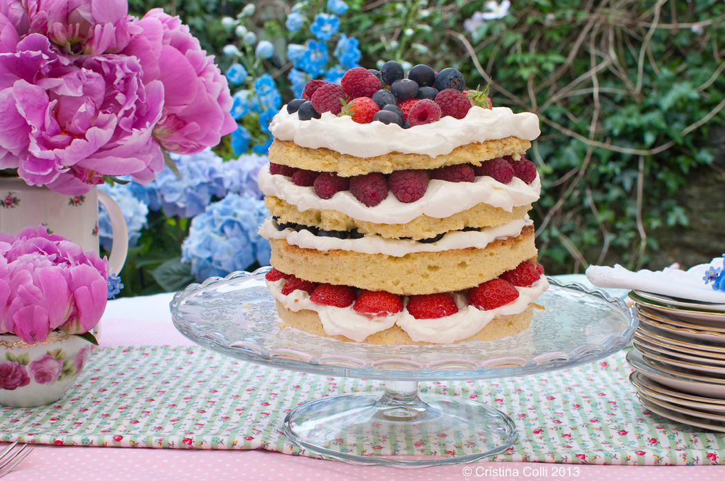 Layered fruit Victoria sponge by The Chipping Norton Tea Set
