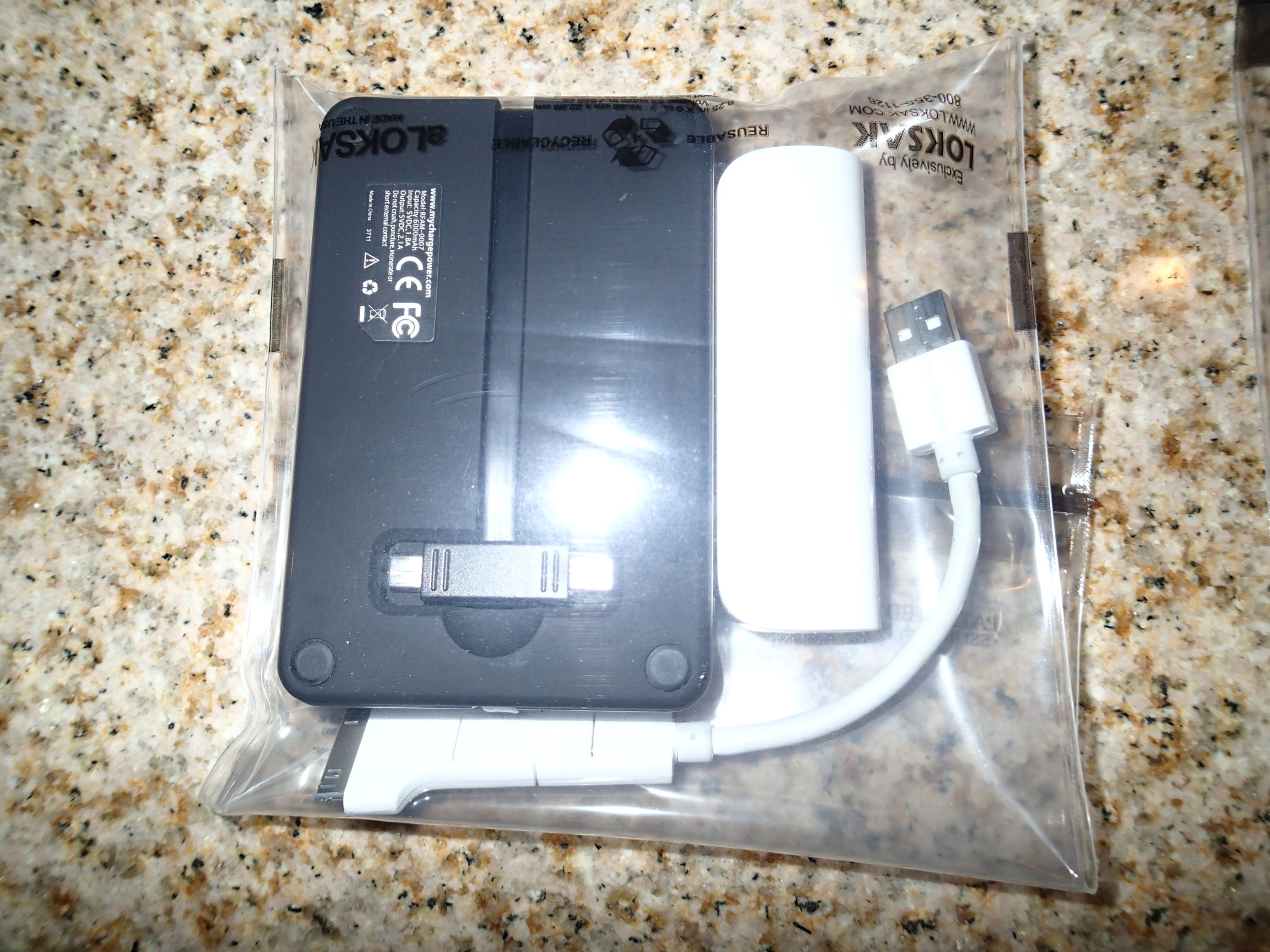 LokSak storing an Innergie PocketCell 3000mAh battery and MyCharge battery pack