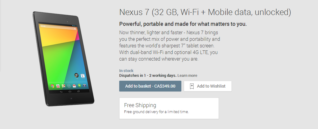 New 2013 Google Nexus 7 with LTE tablet on Google Play for $349 CAD