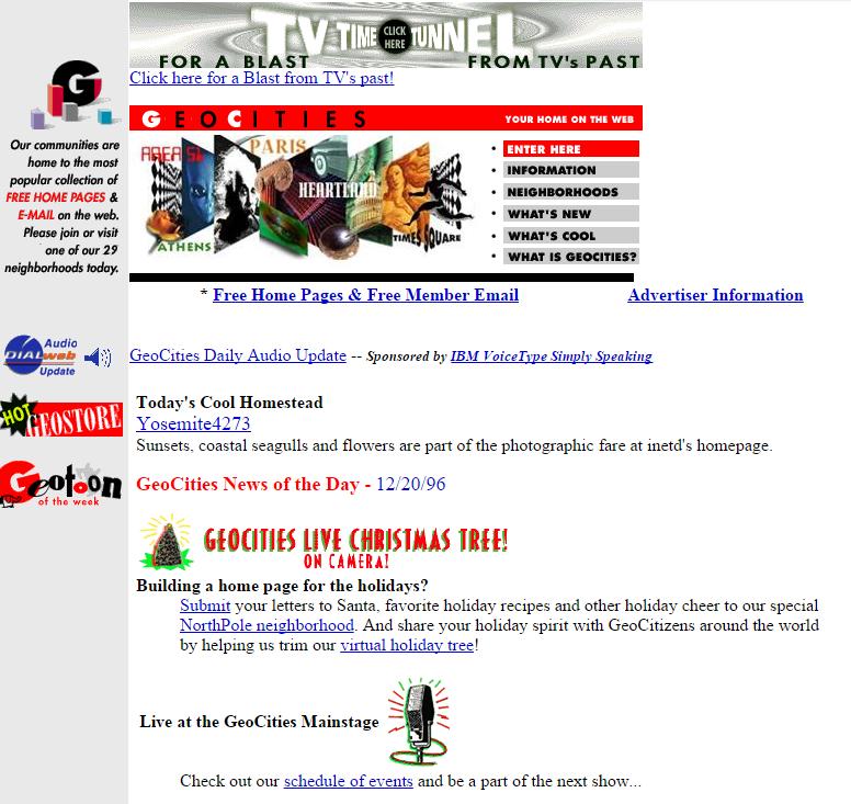 Geocities website December 20 1996