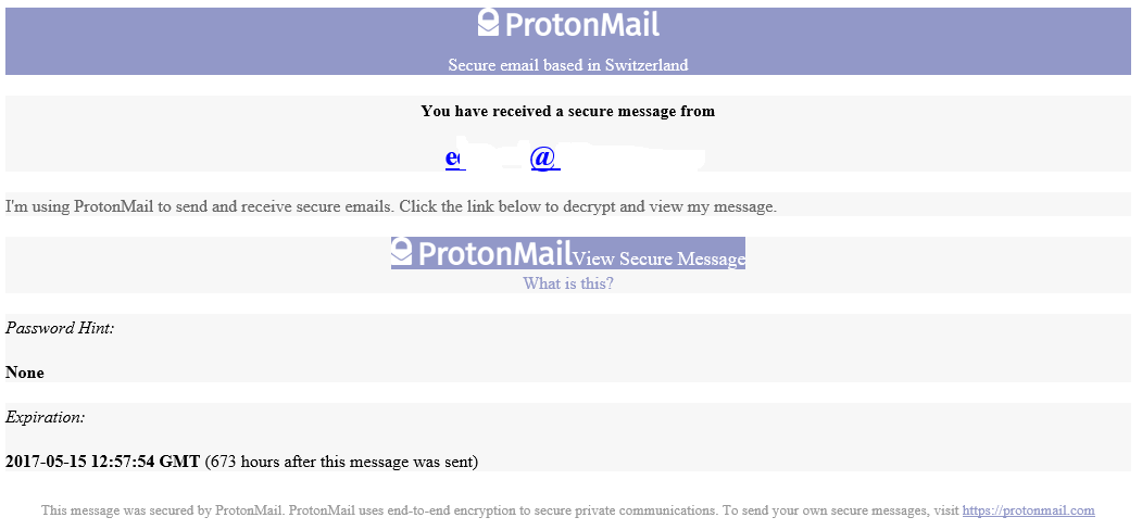 Notification non-Protonmail user receives