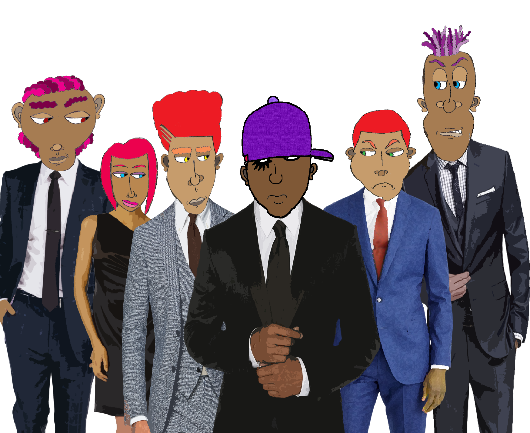 From Left to Right: Omar (Percussion & Security), Dahlia (Keyboards & Synth), Mister M. (Guitar), BlackDroog (BlackDroog), Yancy (Drums), Stretch (Bass Guitar)