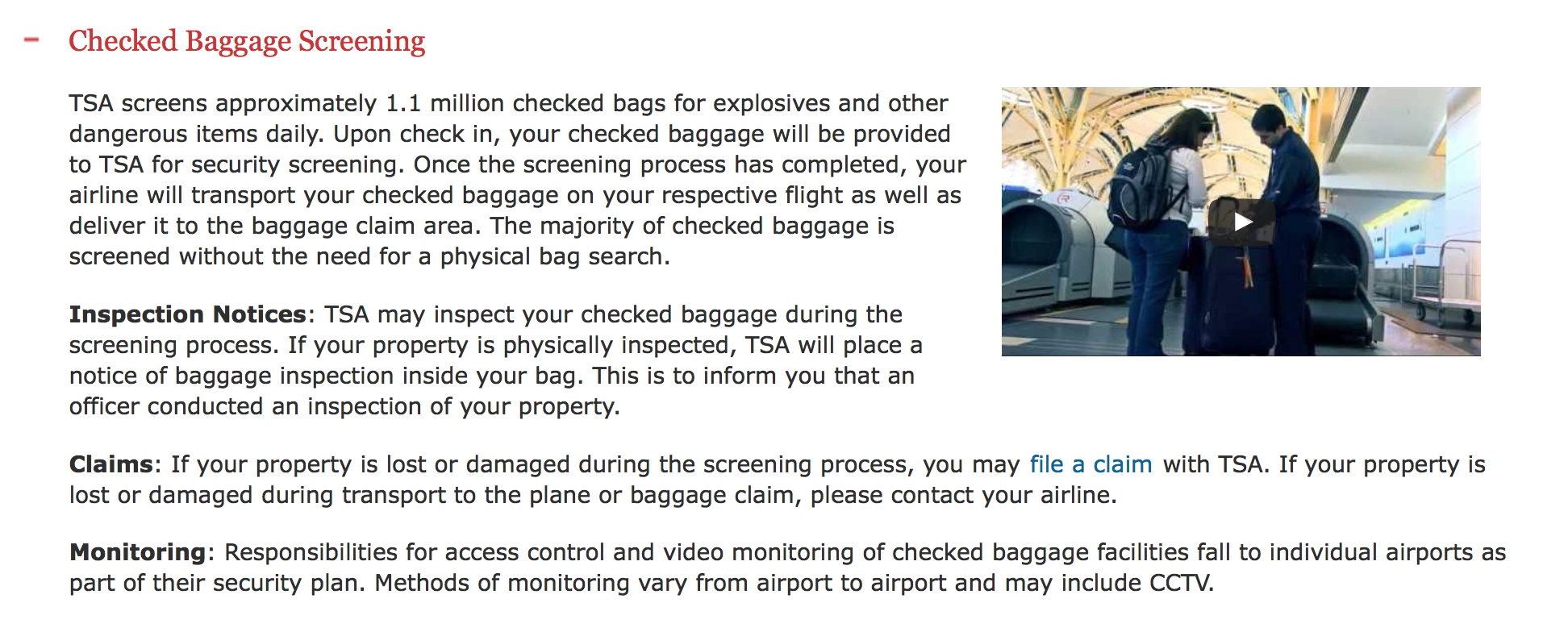 Screenshot from TSA website. In the past three years I have had four locks DISAPPEAR and have never received an inspection notice.