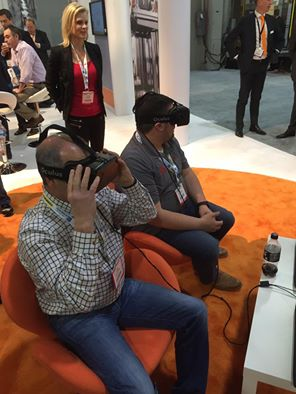 Bob and Eric checking out Virtual Reality glasses at Modex