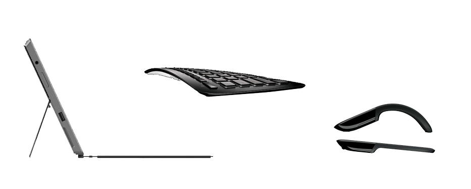 From left to right: Surface, Arc keyboard, Arc Touch Mouse