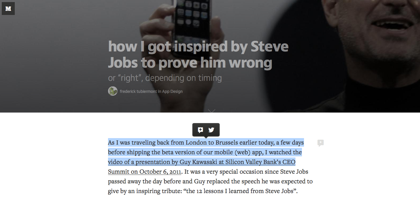 Leave note directly on text or share it via Twitter, not just read.