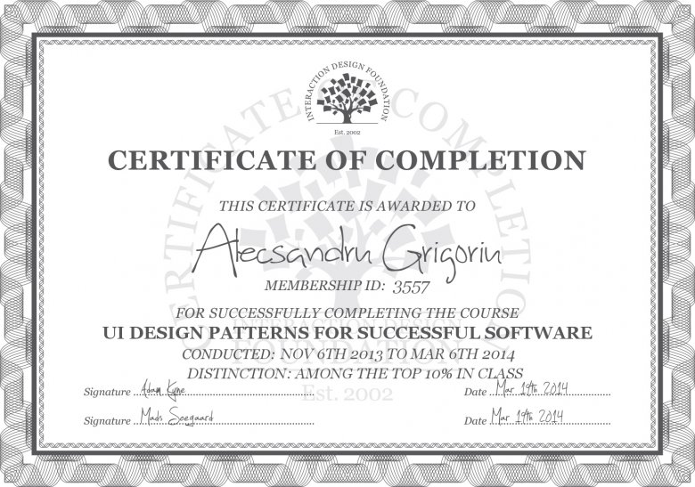 Each course has a Certificate of Completion. This is the one I received for UI Design Patterns For Successful Software.