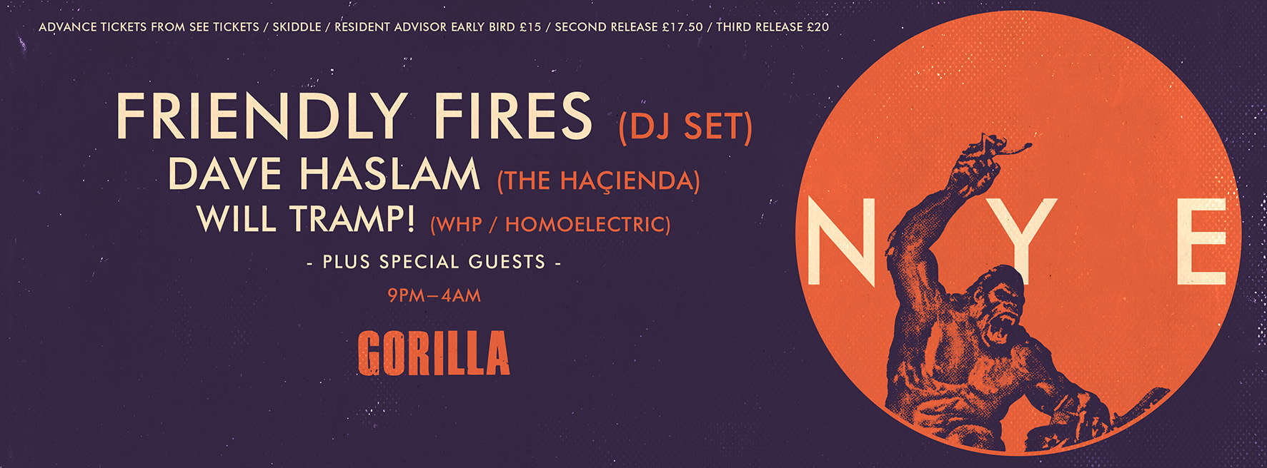 Gorilla's NYE with Friendly Fires! Second release tickets  here