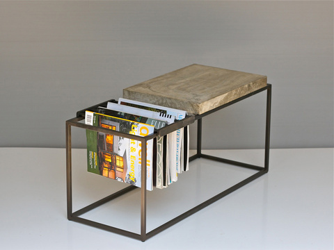 """WF Magazine Side Table""  - This piece on Joshua Howe's versatile side table with a magazine rack includes an in-depth slide show. Dwell Magazine Online."