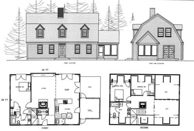 Cottage Gambrel 28 x 40 Three Bedroom