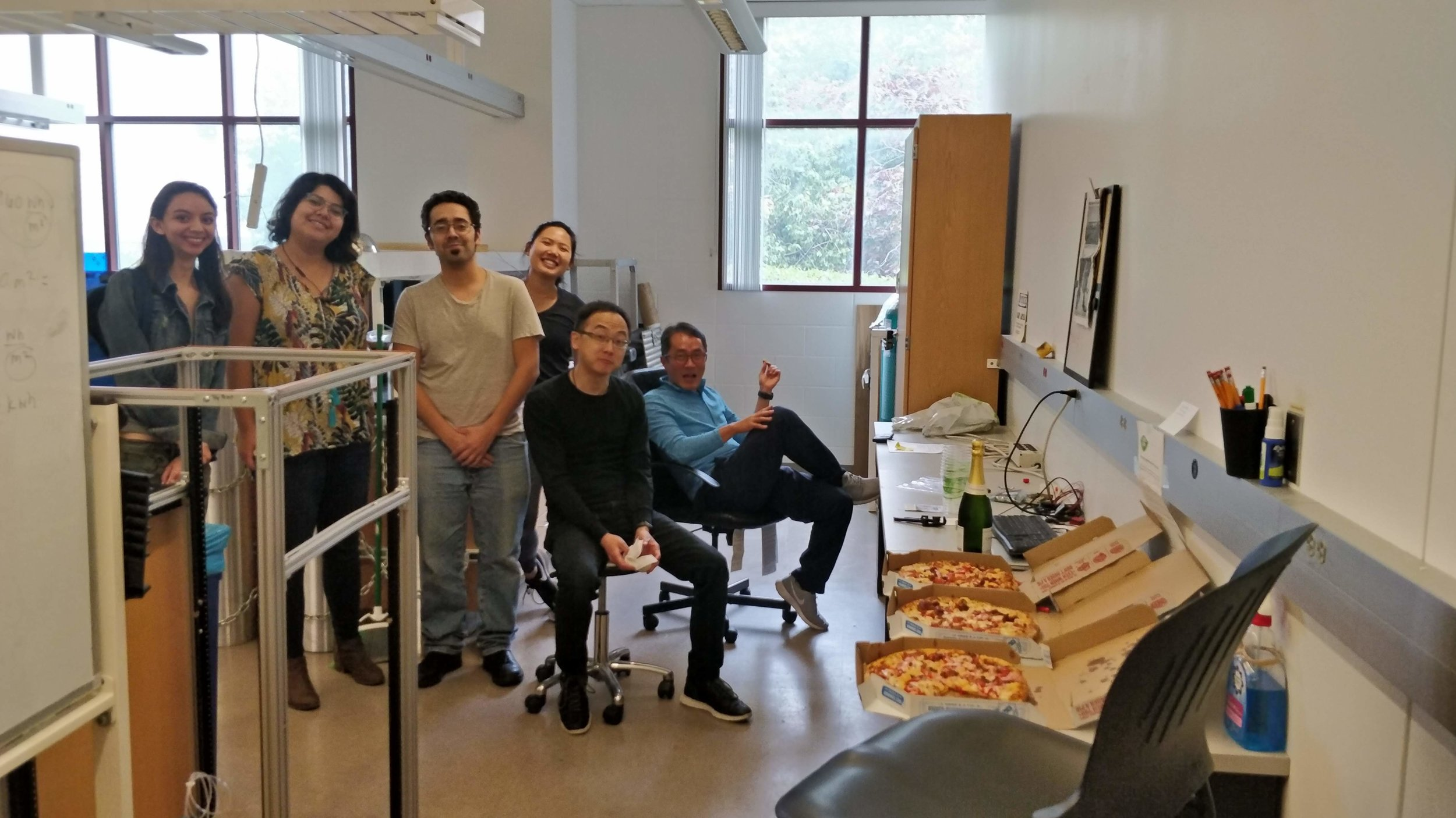 Pizza party because we finally shipped out the whole air sampling system! Whew!