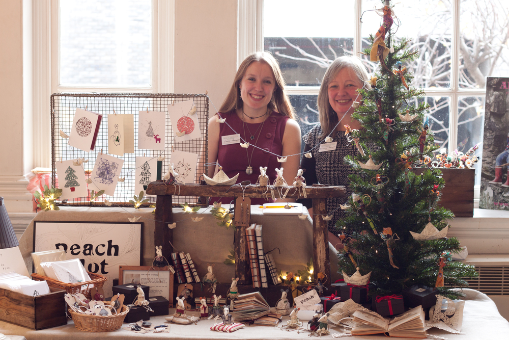 Claire and Beverley at the Selvedge Christmas Fair in 2014