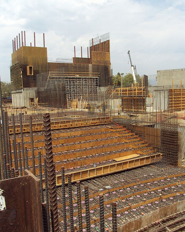 Check out the progress between 8/10/18 (first photo) and 8/24/18 (second photo) on the @lavalleycollege VACC project. View looking northeast from the screening theater towards the main theater. #architecture #design #construction #constructionupdate #underconstruction #rebar #formwork #concrete #lavc #lavalleycollege #qdgarchitecture