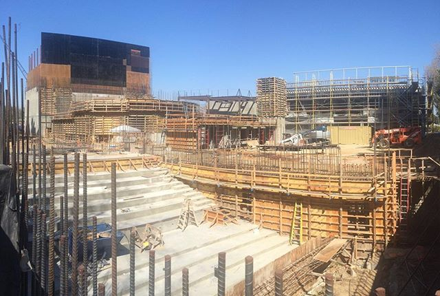 Check out the progress between 9/21/18 (first photo stitch) and 11/21/18 (second photo stitch) on the @lavalleycollege VACC project. View looking northeast from the screening theater towards the main theater. #architecture #design #construction #constructionupdate #underconstruction #rebar #formwork #concrete #lavc #lavalleycollege #qdgarchitecture