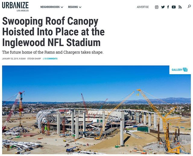 Check out the latest #constructionprogress on the #LAstadium in #Inglewood, courtesy of @urbanize.la with photos by @construct.la Link in bio, or copy: https://urbanize.la/post/swooping-roof-canopy-hoisted-place-inglewood-nfl-Stadium #NFL #Rams #LArams #LAchargers #architecture #design #construction #constructionupdate #stadium #qdgarchitecture #hksarchitects