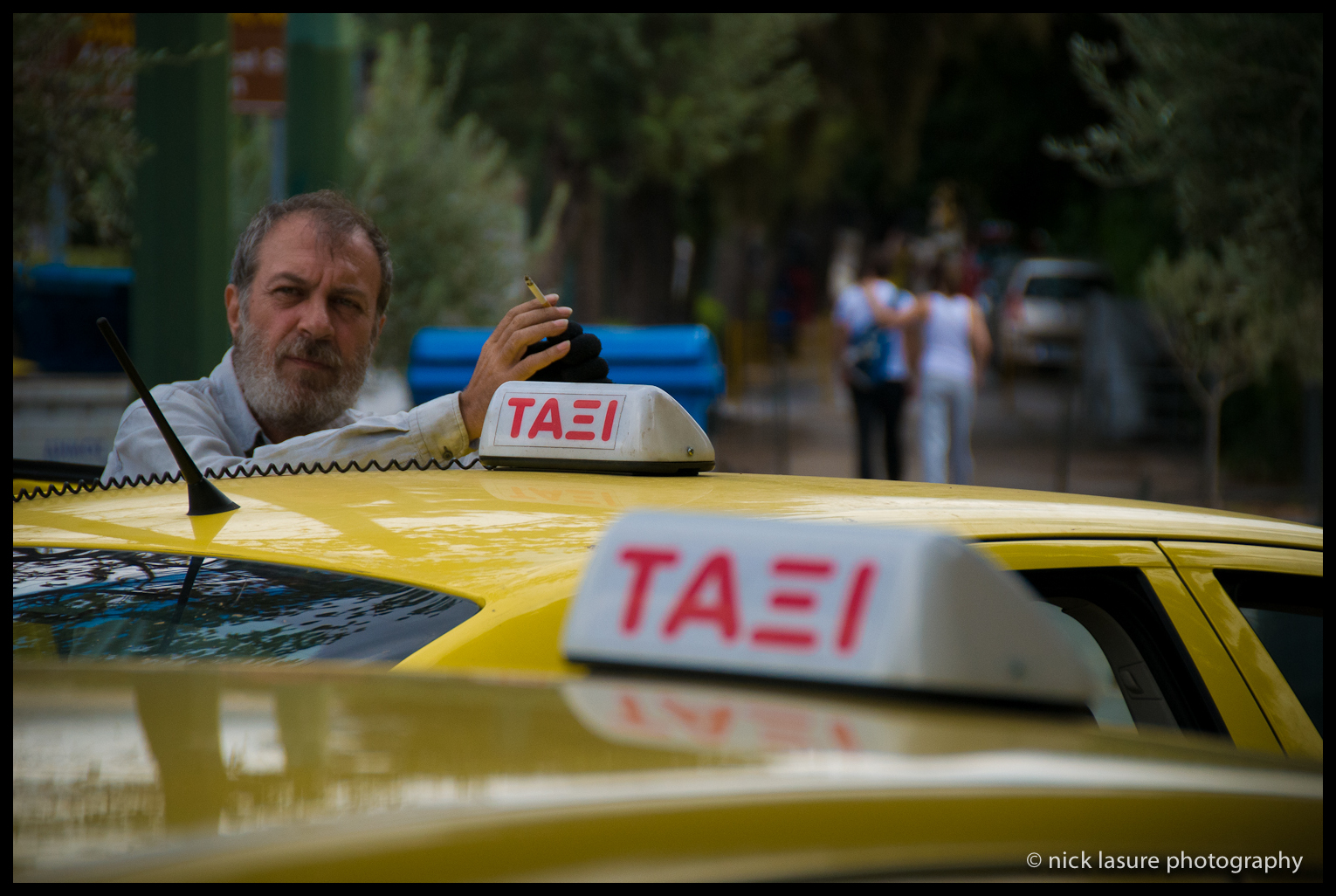 A lot of Greeks seemed pretty upbeat despite the hard times that still persist in the country, this taxi driver appeared to be enjoying a good contemplative cigarette.